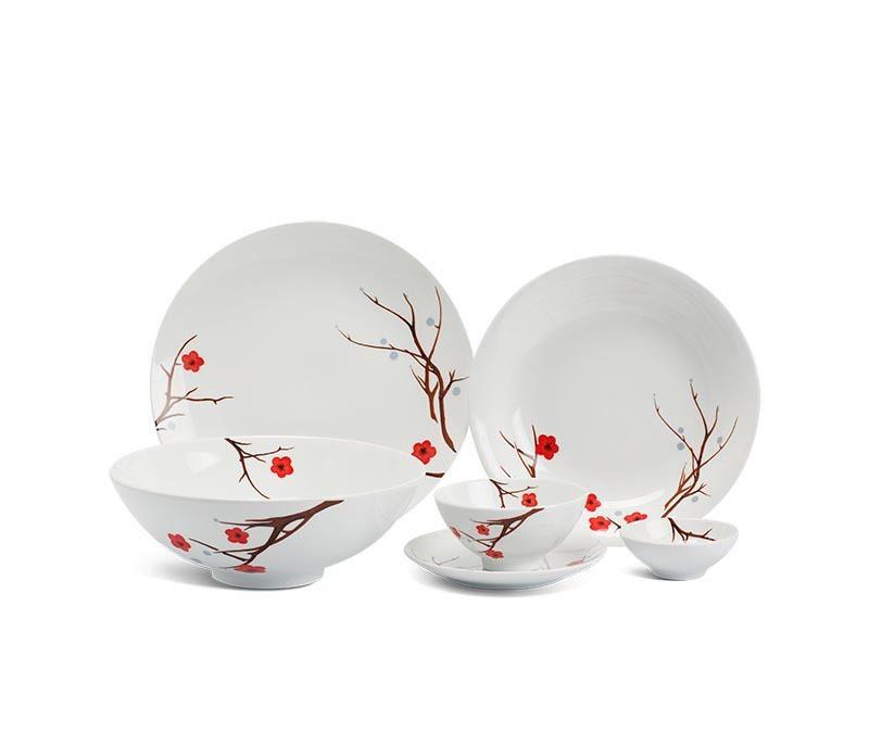 Bộ bàn ăn Minh Long Daisy Hồng Mai - 36 sản phẩm