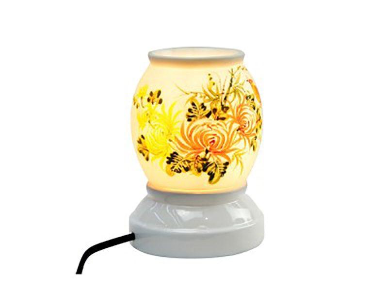 Đèn xông tinh dầu vẽ hoa S4 – Gốm sứ Bát Tràng