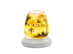 Đèn Xông Tinh Dầu Bát Tràng Dáng Trứng- Hoa Đào