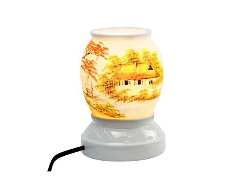 Đèn xông tinh dầu vẽ nhà tranh – Gốm sứ Bát Tràng