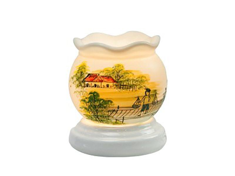 Đèn xông tinh dầu vẽ nhà tranh cổ loe – Gốm sứ Bát Tràng