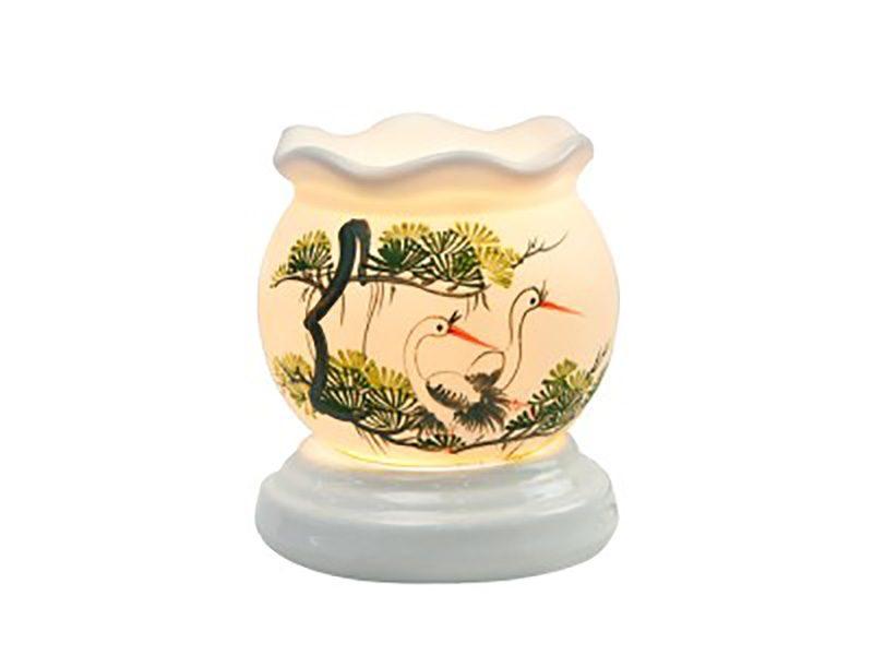 Đèn xông tinh dầu vẽ chim hạt cổ loe – Gốm sứ Bát Tràng
