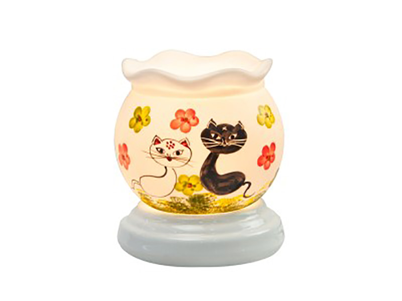 Đèn xông tinh dầu vẽ mèo trắng đen – Gốm sứ Bát Tràng