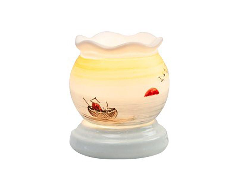 Đèn xông tinh dầu vẽ thuyền sông S4 – Gốm sứ Bát Tràng