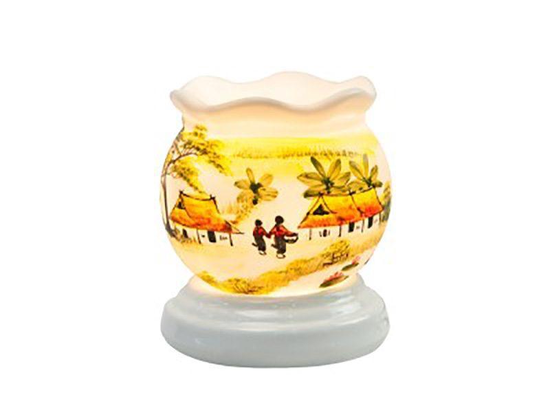 Đèn xông tinh dầu vẽ làng xóm cổ loe S1 – Gốm sứ Bát Tràng
