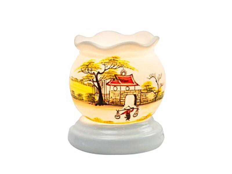 Đèn xông tinh dầu vẽ cổng làng cổ loe – Gốm sứ Bát Tràng