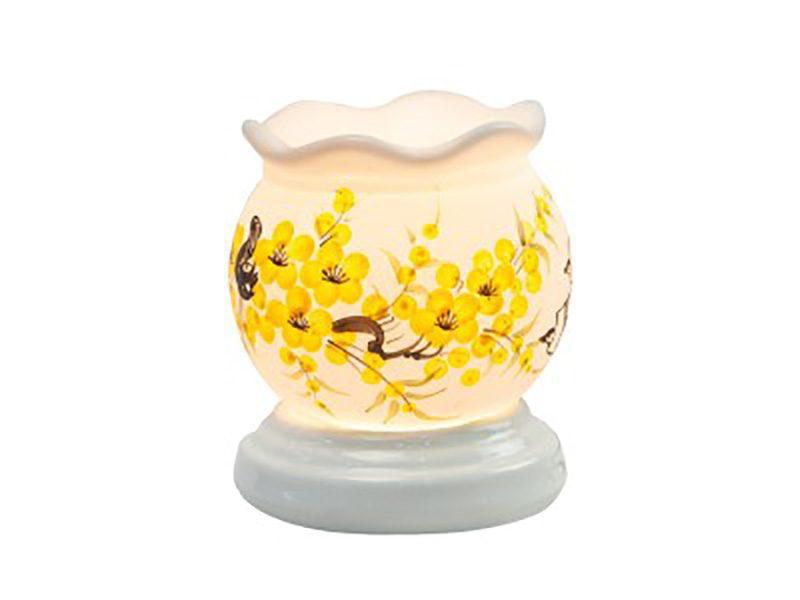 Đèn xông tinh dầu vẽ hoa cổ loe S7 – Gốm sứ Bát Tràng