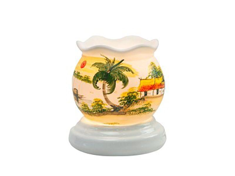 Đèn xông tinh dầu vẽ nhà trang S10 size nhỏ – Gốm sứ Bát Tràng