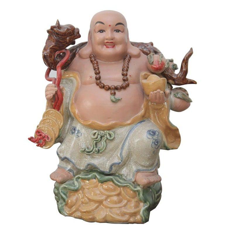 Tượng gốm Phật Di Lặc Gánh Tiền Đào – Gốm Sứ Bát Tràng