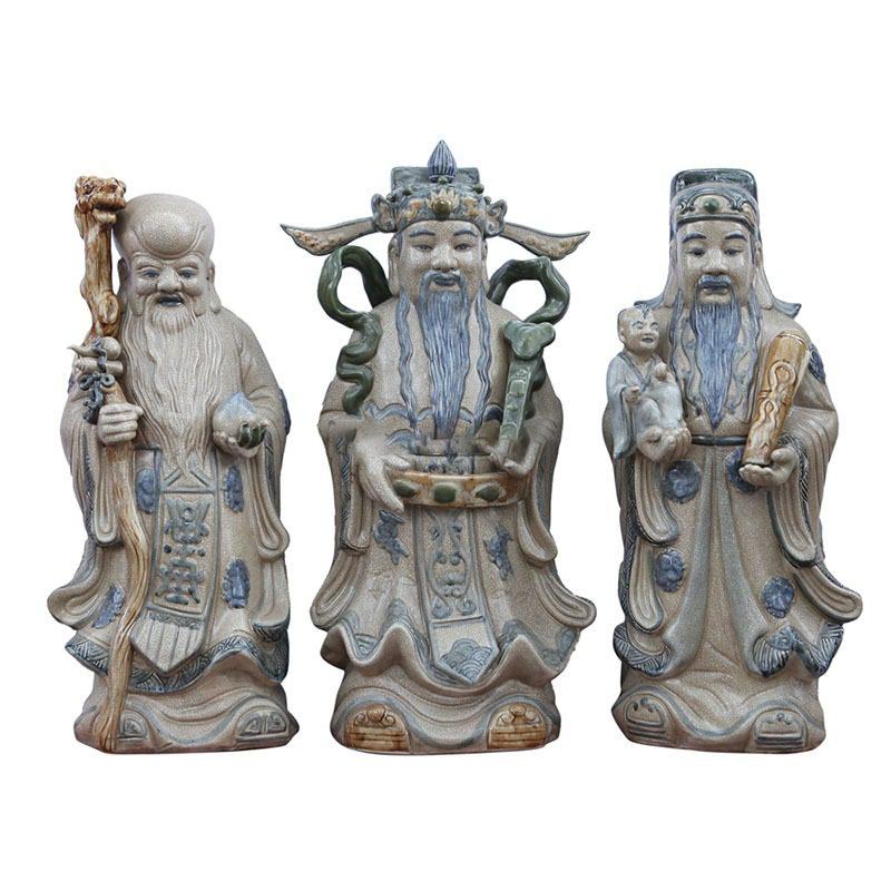 Tượng Gốm Phúc Lộc Thọ – Men Giả Cổ – Bát Tràng