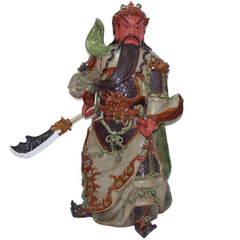 Tượng Gốm Quan Công Mặt Hồng – Men Rạn – Cao 60cm – Bát Tràng