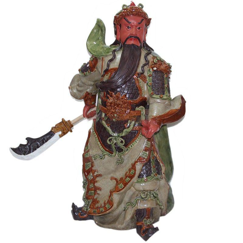 Tượng Gốm Quan Công Mặt Hồng – Men Rạn – Cao 90cm – Bát Tràng