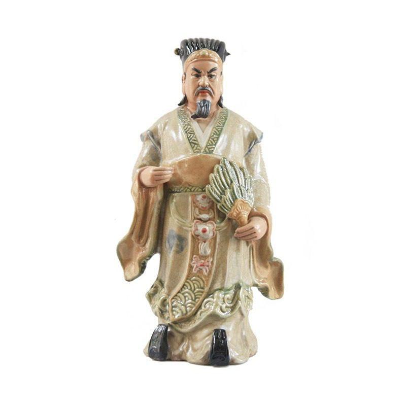 Tượng gốm Khổng Minh Số 1 – Men Rạn – Gốm Sứ Bát Tràng