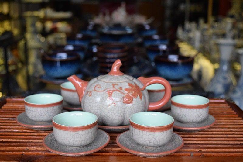 Bộ ấm trà Bát Tràng Quả Bí Men Rạn Lòng Xanh 450ml