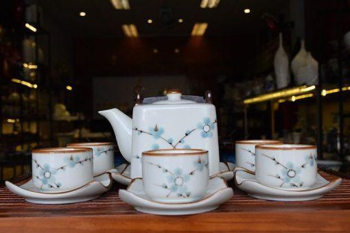 ấm chén bát tràng, bộ ấm trà bát tràng, ấm trà bát tràng
