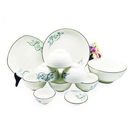 Bộ bát đĩa Bát Tràng 11 sản phẩm sen xanh