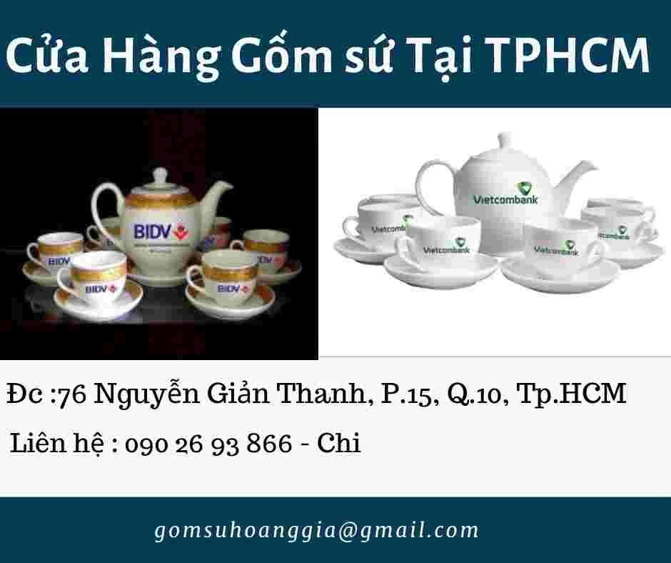Bộ Trà Bát Tràng Dáng Minh Long Giá In Logo TechcomBank