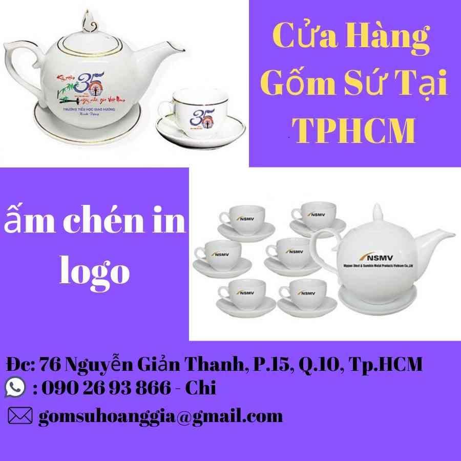 Bộ Trà Bát Tràng Phú Quý Kẻ Chỉ Vàng Giá In Logo Vietcombank