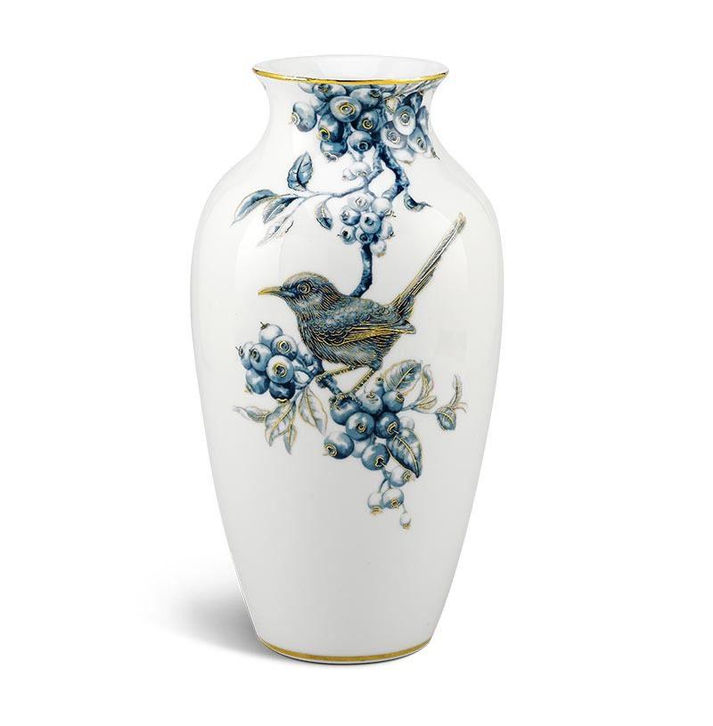 Bình hoa Minh Long – Chích Chòe và Quả Quất – Cobalt Vàng