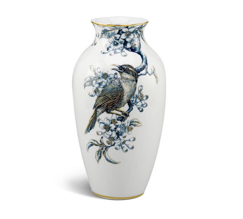 Bình hoa Minh Long – Họa Mi và Hoa Bưởi – Cobalt Vàng