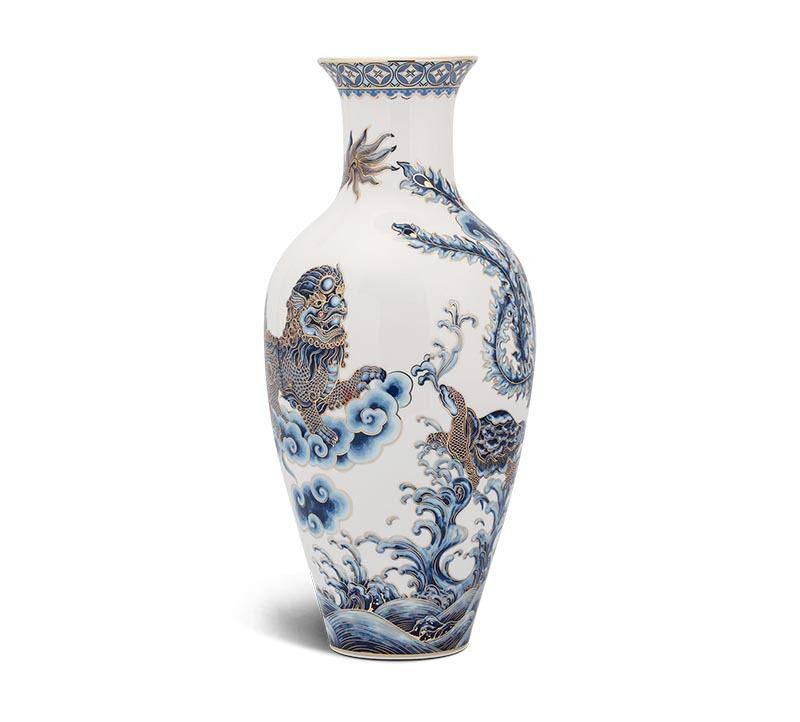 Bình hoa Minh Long Vẽ Tứ Linh – 30cm