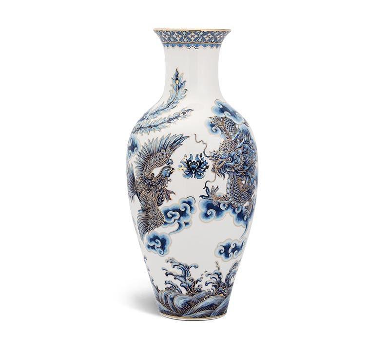 Bình hoa Minh Long Vẽ Tứ Linh – 45cm