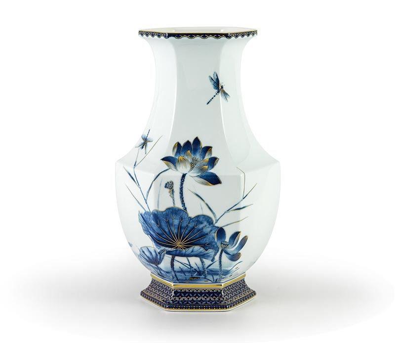 Bình hoa Minh Long Lộc Phát – Sen Vàng Nền Xanh Ngọc