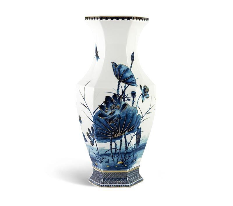 Bình hoa Minh Long Lộc Phát – Sen Vàng Nền Trắng – Cao 40cm