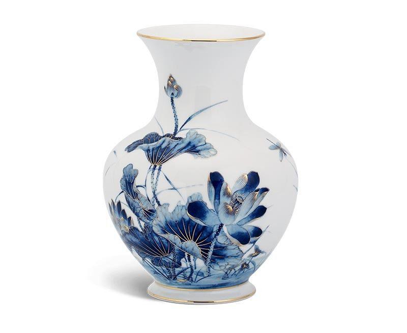 Bình hoa gốm Minh Long 22 cm – Sen Vàng