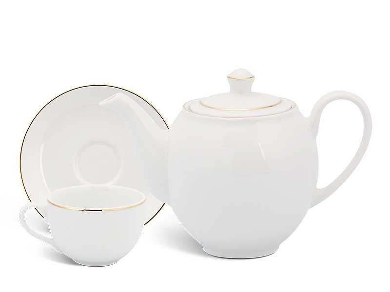 Bộ trà Minh Long Camellia Chỉ Vàng 0.8L