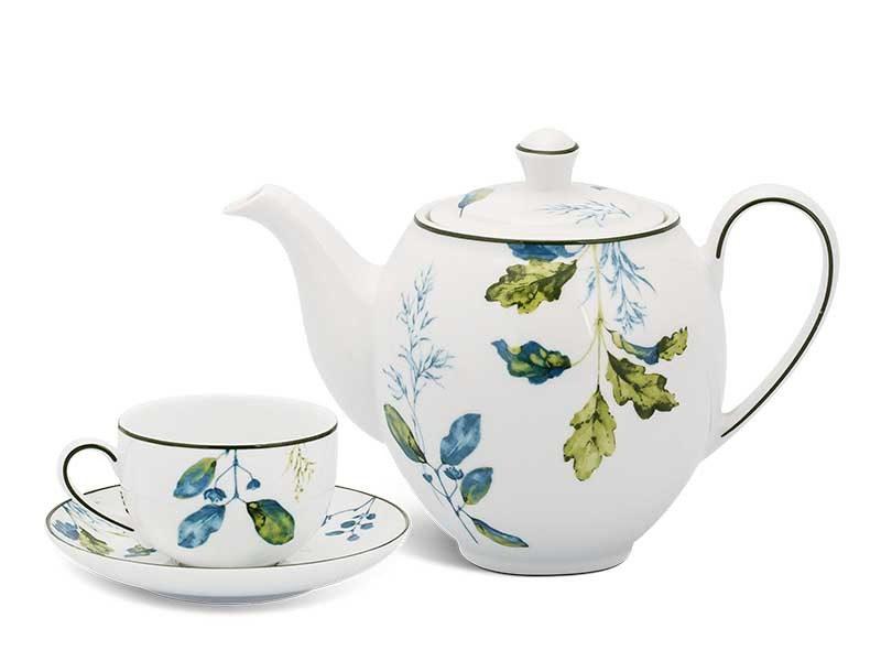 Bộ trà Minh Long Camellia Lá Xanh 0.8L