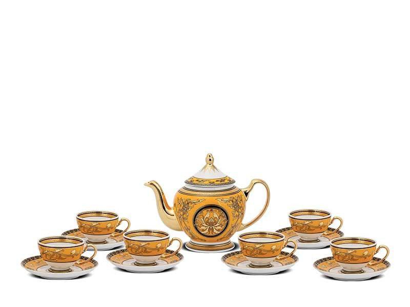 Bộ trà Minh Long Hoàng Cung Hoàng Bào Vẽ Sen 0.8L