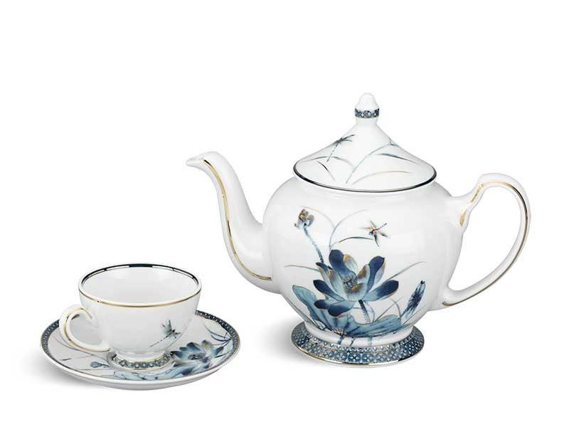Bộ trà Minh Long Hoàng Cung Sen Vàng 0.8L