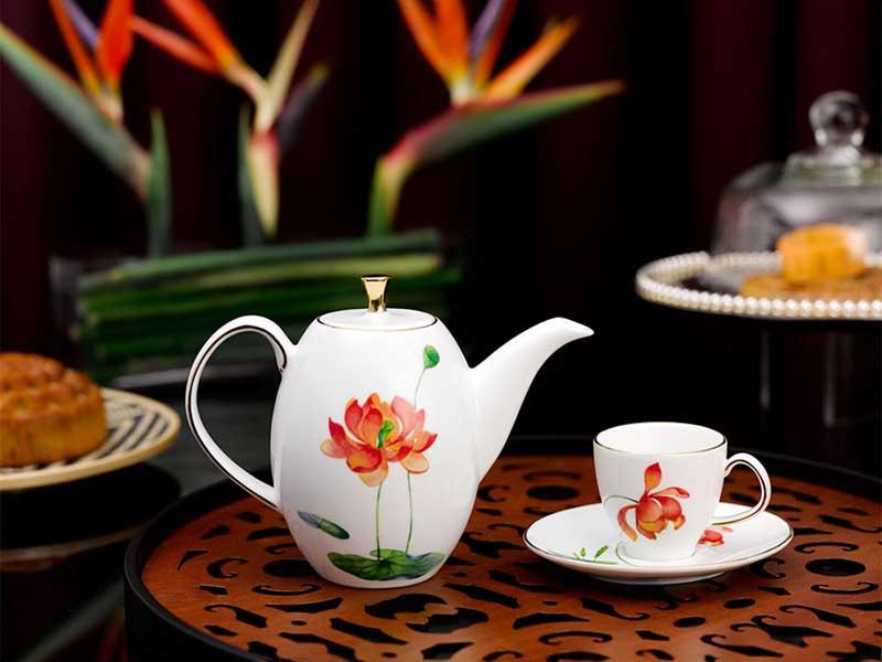Bộ trà Minh Long Anna Hương Sen Dáng Cao 0.47l
