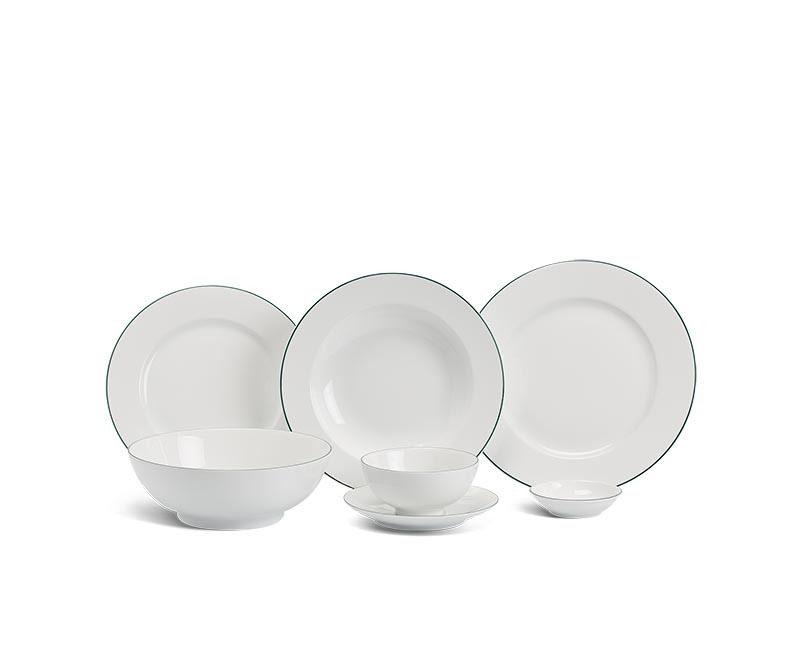 Bộ bàn ăn Minh Long Jasmine Chỉ Xanh Lá – 36 sản phẩm