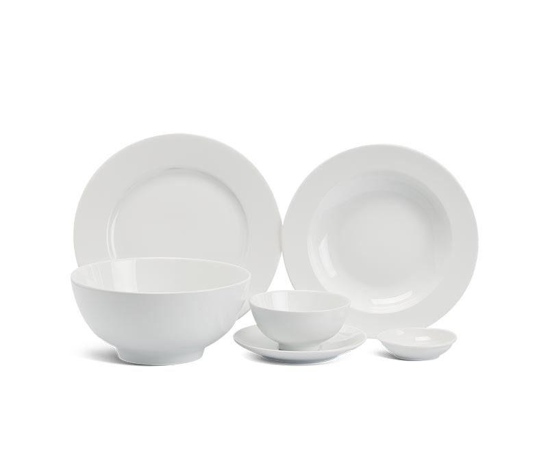 Bộ bàn ăn Minh Long Jasmine Trắng – 36 sản phẩm