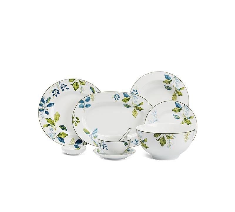 Bộ bàn ăn Minh Long Camellia Lá Xanh – 48 sản phẩm
