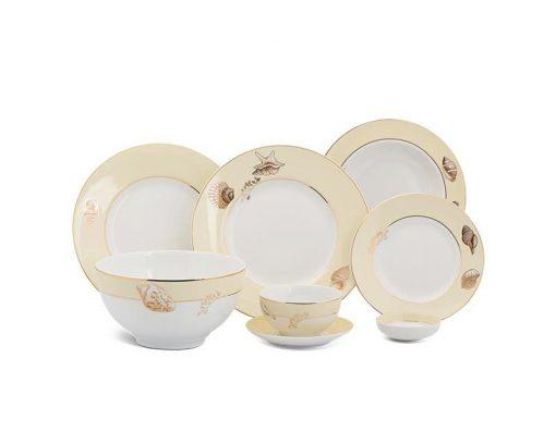 Bộ bàn ăn Minh Long Camellia Hương Biển kem - 25 sản phẩm