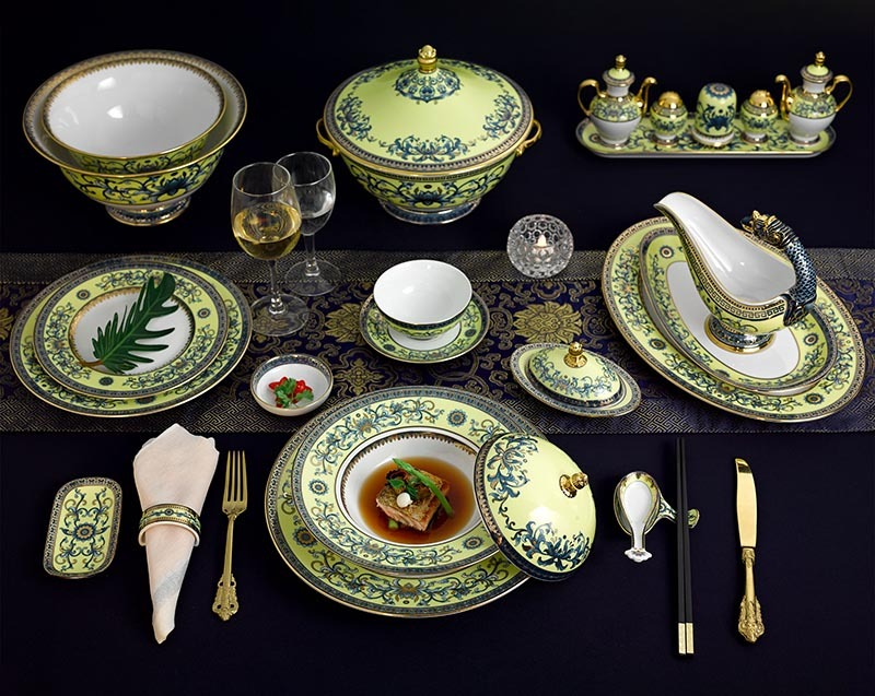 Bộ bàn ăn Minh Long Hoàng Cung Hoàng Liên – 82 sản phẩm