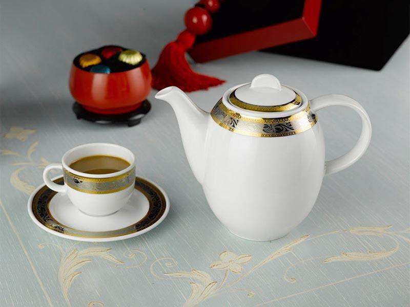 Bộ cà phê Minh Long Sago Hoa Hồng Đen Khắc Nổi