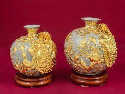 Cặp Bình Hoa, Cặp Bình Hoa Tài Lộc Chim Công Vàng - Bát Tràng