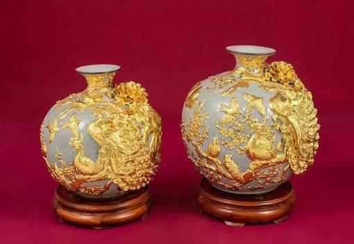 Cặp Bình Hoa Tài Lộc Chim Công Vàng - Bát Tràng