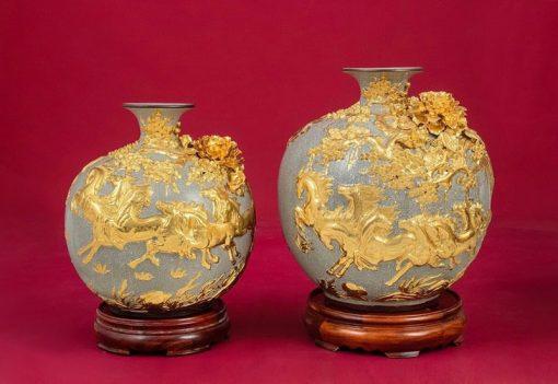 Cặp Bình Hoa Tài Lộc Ngựa Vàng - Bát Tràng
