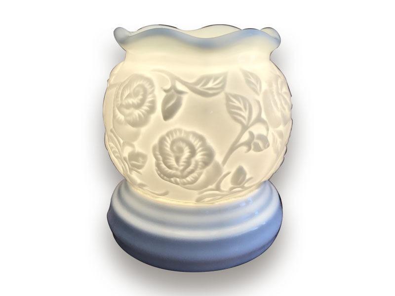 Đèn Xông Tinh Dầu Bát Tràng Miệng Loe S1 – Hoa Hồng Nổi