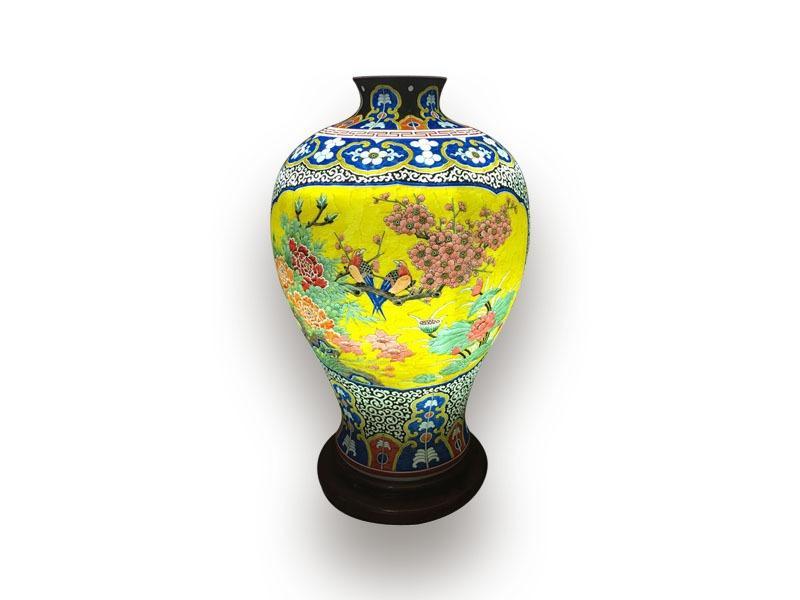 Đèn Xông Tinh Dầu Bát Tràng Vẽ Chim Trĩ – Hoa mẫu Đơn