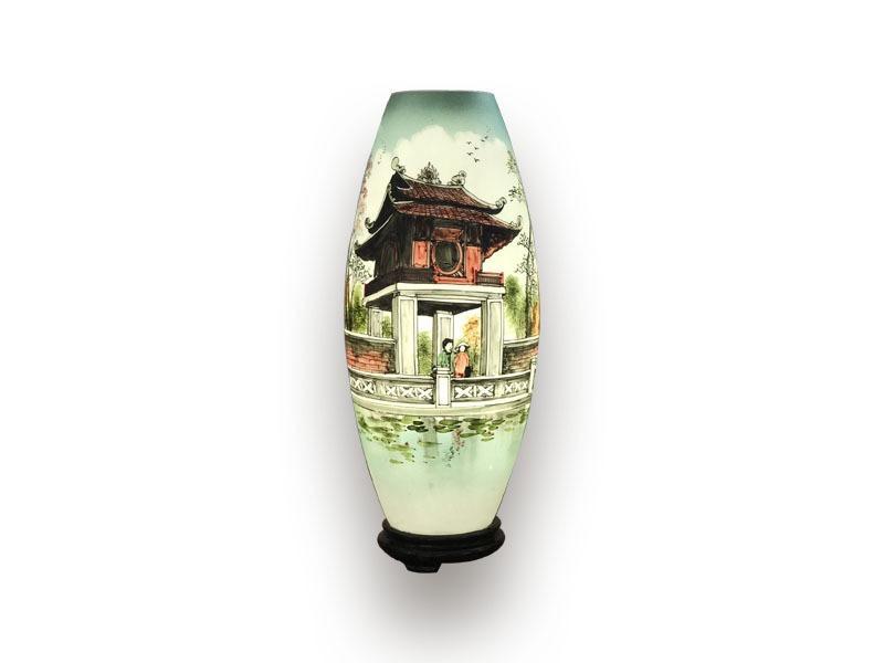 Đèn Xông Tinh Dầu Bát Tràng Dáng Bom – Chùa Một Cột – H52cm