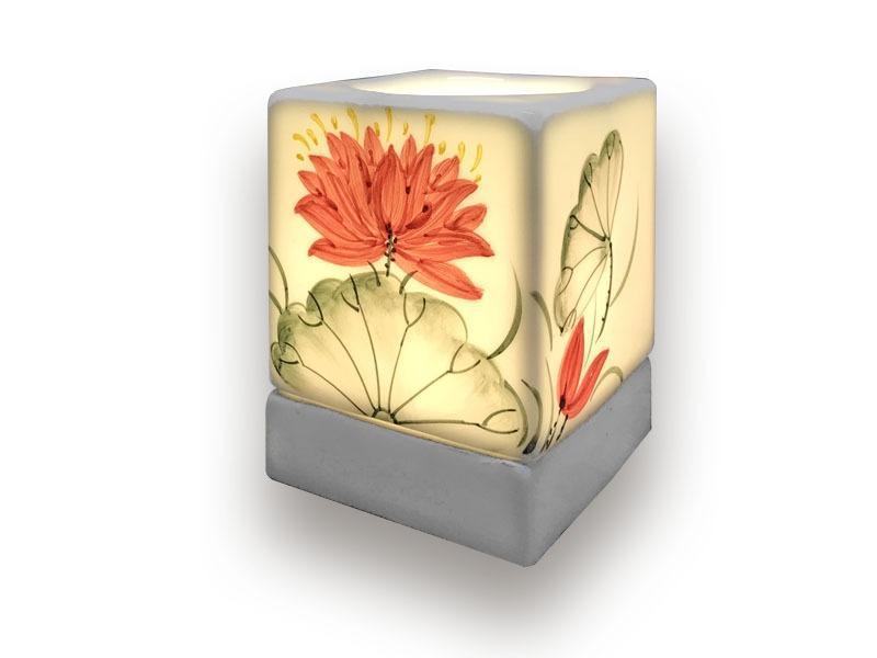 Đèn Xông Tinh Dầu Bát Tràng Dáng Vuông – Hoa Cúc