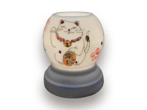 đèn xông tinh dầu, den xong tinh dau, đèn xông tinh dầu bằng điện, đèn xông tinh dầu bát tràng, đèn xông tinh dầu điện giá rẻ, đèn xông tinh dầu tphcm, đèn xông tinh dầu giá rẻ, đèn ngủ xông tinh dầu, đèn xông tinh dầu điện hcm, đèn xông tinh dầu giá sỉ, Đèn Xông Tinh Dầu Bát Tràng Tròn S1- Mèo Thần Tài