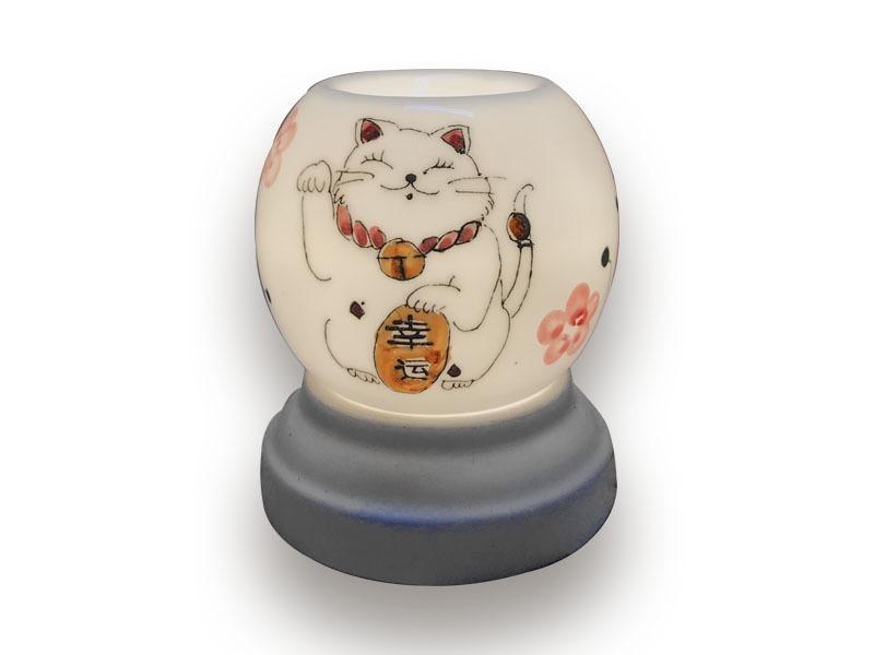 Đèn Xông Tinh Dầu Bát Tràng Tròn S1- Mèo Thần Tài