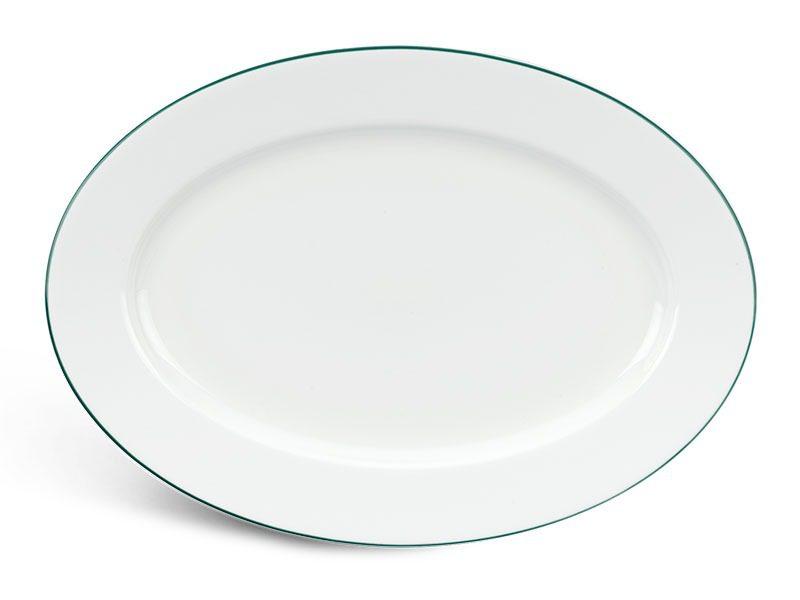 Dĩa oval Minh Long Jasmine Chỉ Xanh Lá 25cm